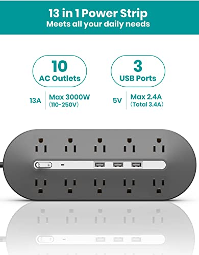 Power Strip with USB, Klearlook Surge Protector with 10-Outlet 1625W 13A 3 USB Fast Charging Ports 2.4A Max 6.5Ft Long Extension Cord Wall Mountable Multiplug Strip for Home Appliances