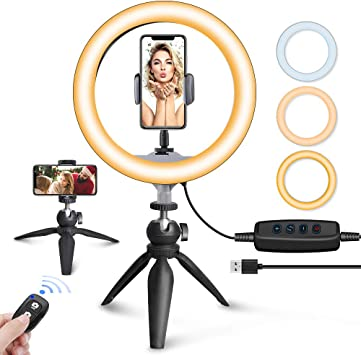 Color : White, Size : 1 LED Ring Light 10 Inch Dimmable LED Video Ring Light with Phone Clip for Selfie Vlog TIK Tok YouTube Live Streaming for Live//Makeup//Self-Timer Photo//Video//Product Pho