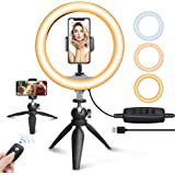 """UBeesize 10"""" LED Ring Light with Tripod Stand & Phone Holder, Dimmable Desk Makeup Ring Light, Perfect for Live Streaming & YouTube Video, Photography, 3 Light Modes and 11 Brightness Levels"""