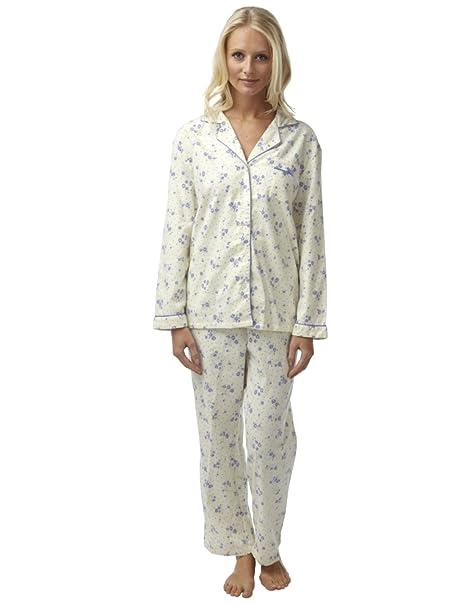 SaneShoppe - Pijama - Floral - con botones - Manga Larga - para mujer Cream Blue