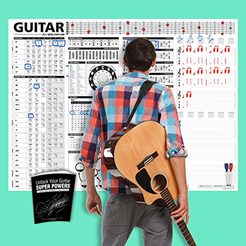 [Creative Guitar Poster - A Dry-Erase Educational Guitar Poster with Instructional Book Containing Chords, Scales, Chord Formulas, Chord Progressions and More for Guitarists and Teachers 48