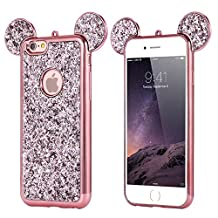 Three Cray Luxury Lovely Animal 3D Crafts Glitter Sequin Ears Bear Ears Mouse Ears Paillette Soft TPU Silicone Phone Case Cover For iPhone6/6S
