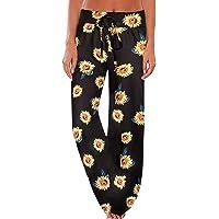 NEWCOSPLAY Women's Comfy Pajama Pants Floral Print Drawstring Palazzo Lounge Wide Leg Pants