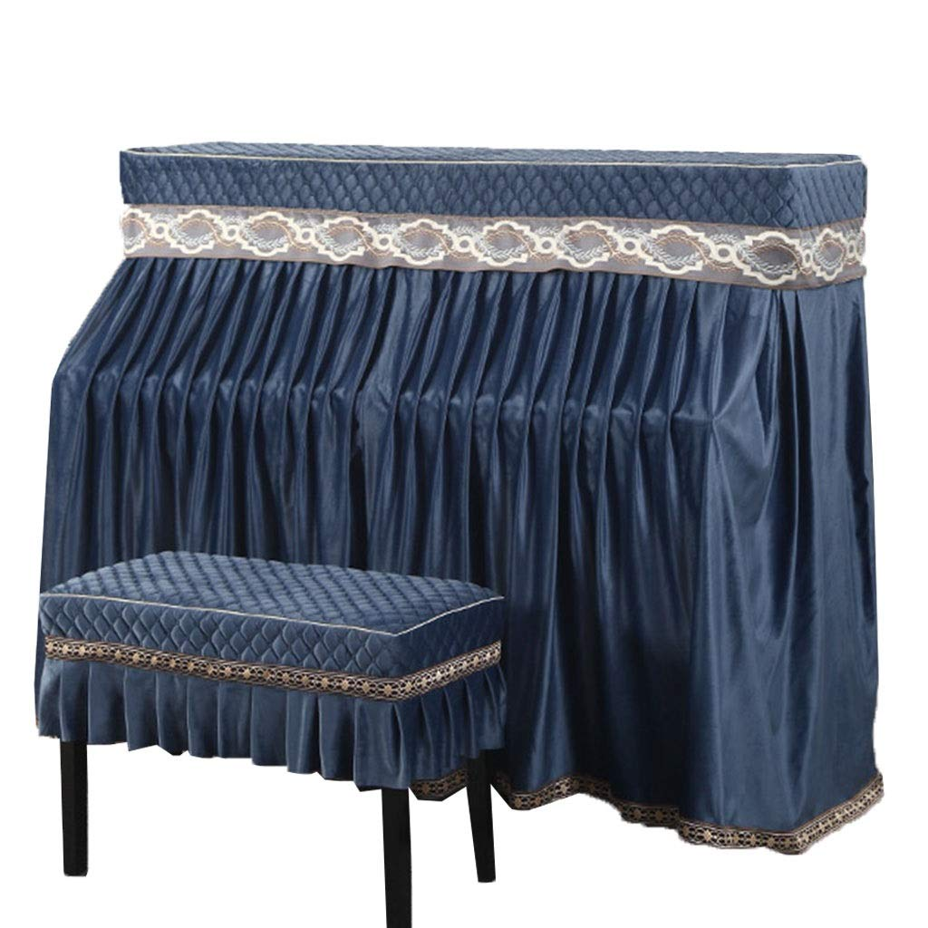 Piano Cover,for Standard Upright Piano Dustproof And Breathable Thick Flannel (Color : Blue-153x34x120cm+78x38cm) by GQZ-Piano