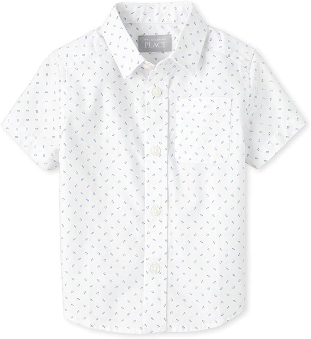 The Childrens Place Baby Boys Short Sleeve Printed Poplin