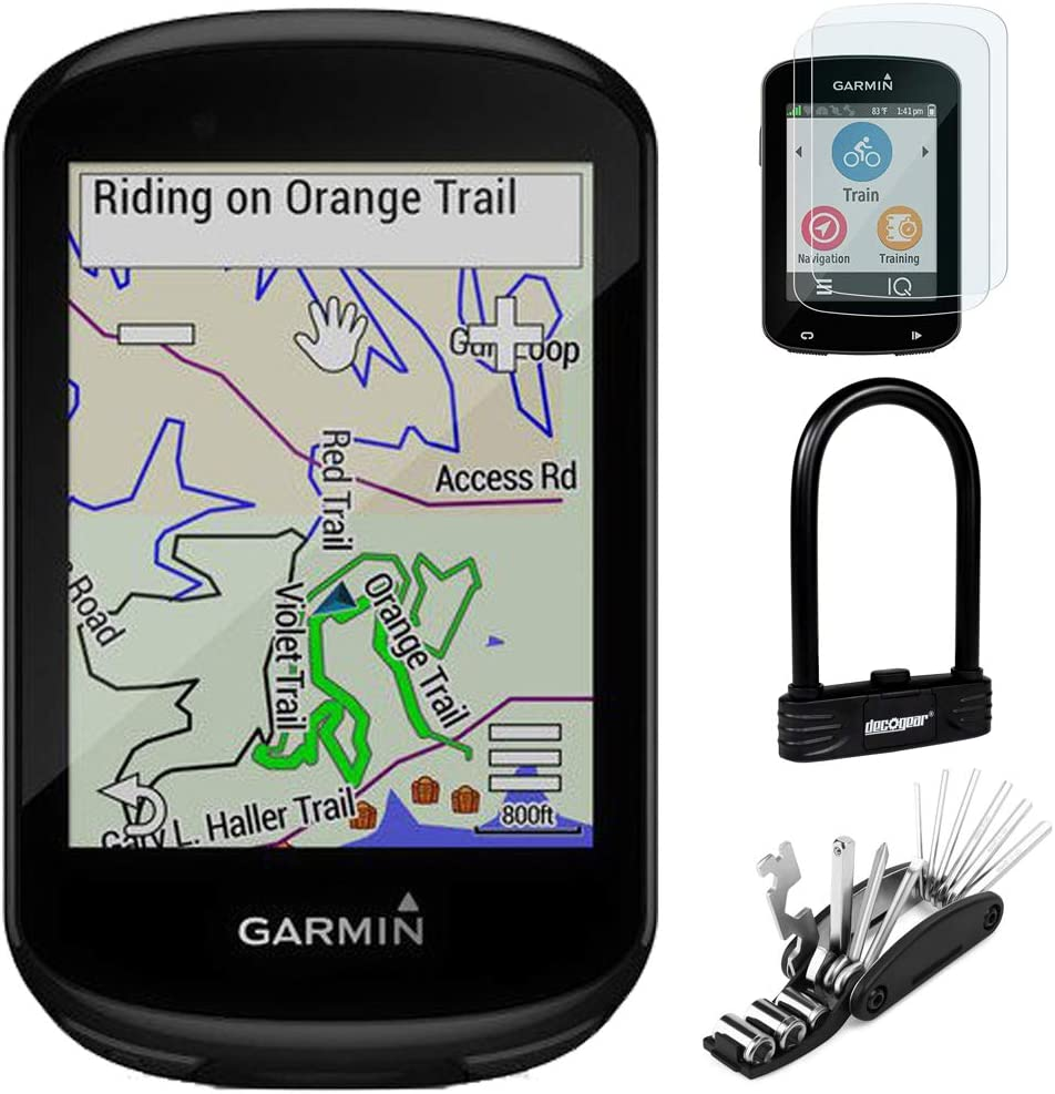 Scratch Resistant Tempered Glass Heavy Duty Combination U-Lock and 16-in-1 Multi-Function Bike Tool Kit Garmin 010-02061-00 Edge 830 GPS Cycling Computer Bundle with Screen Protector