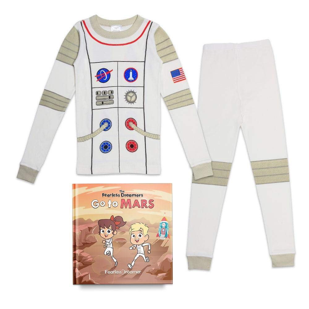 Fearless Dreamer LLC Kids Organic Cotton Astronaut Pajama Set Matching Illustrated Book