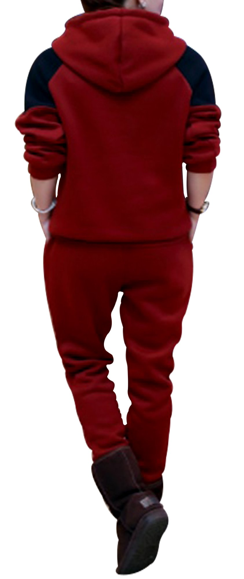 X-2 Women Athletic Fleece Tracksuit Sweatsuit Activewear Navy-Panel Maroon XXL by X-2 (Image #3)