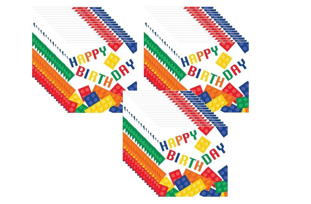''Happy Birthday'' Building Block Lunch Napkins (48 Count)