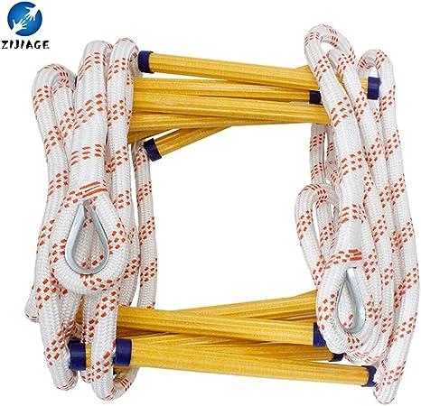 ZIJIAGE Rescate Fire Escape Ladder Escalera Blanda sin Cable de Acero para Escalada en Roca Ganchos de Escape Rápido de implementar y fácil de Usar,3m: Amazon.es: Hogar