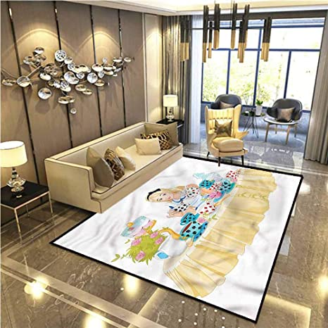 Amazon Com Alice In Wonderland Children Play Dormitory Home Decor Rug Famous Scene Kitchen Carpet 4 X 6 Ft Dining