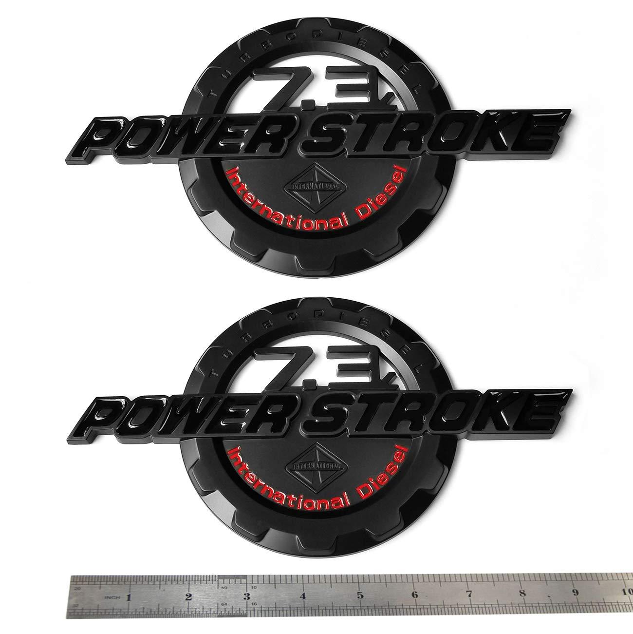 2x OEM Black Red 7.3L POWER STROKE International Side Fender Emblems Badge Powerstroke 3D logo Replacement for F250 F350