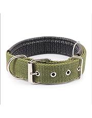 Ecloud Shop Duradero y cómodo para mascotas collar de perro sólido clásico collar de perro de nylon poliéster básico 2.5 * 55cm verde del ejército