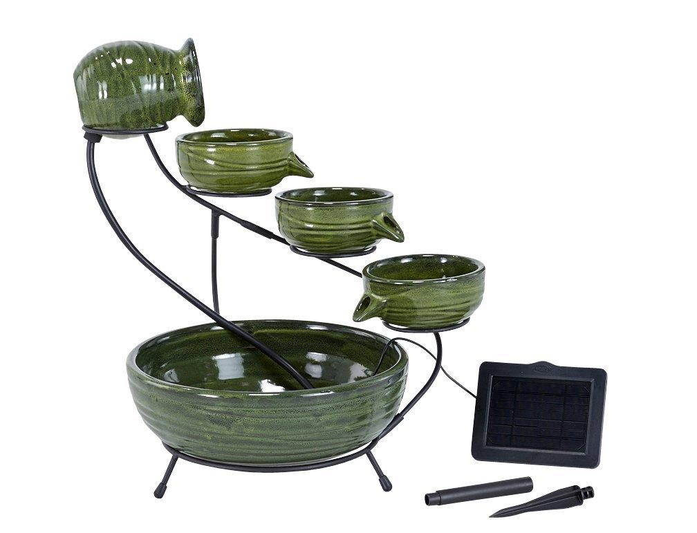 Smart Solar Bamboo Glazed Cascading Fountain
