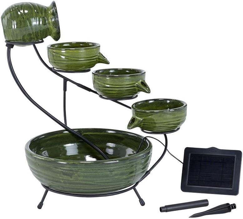 Smart Solar Glazed Bamboo Cascading Water Fountain