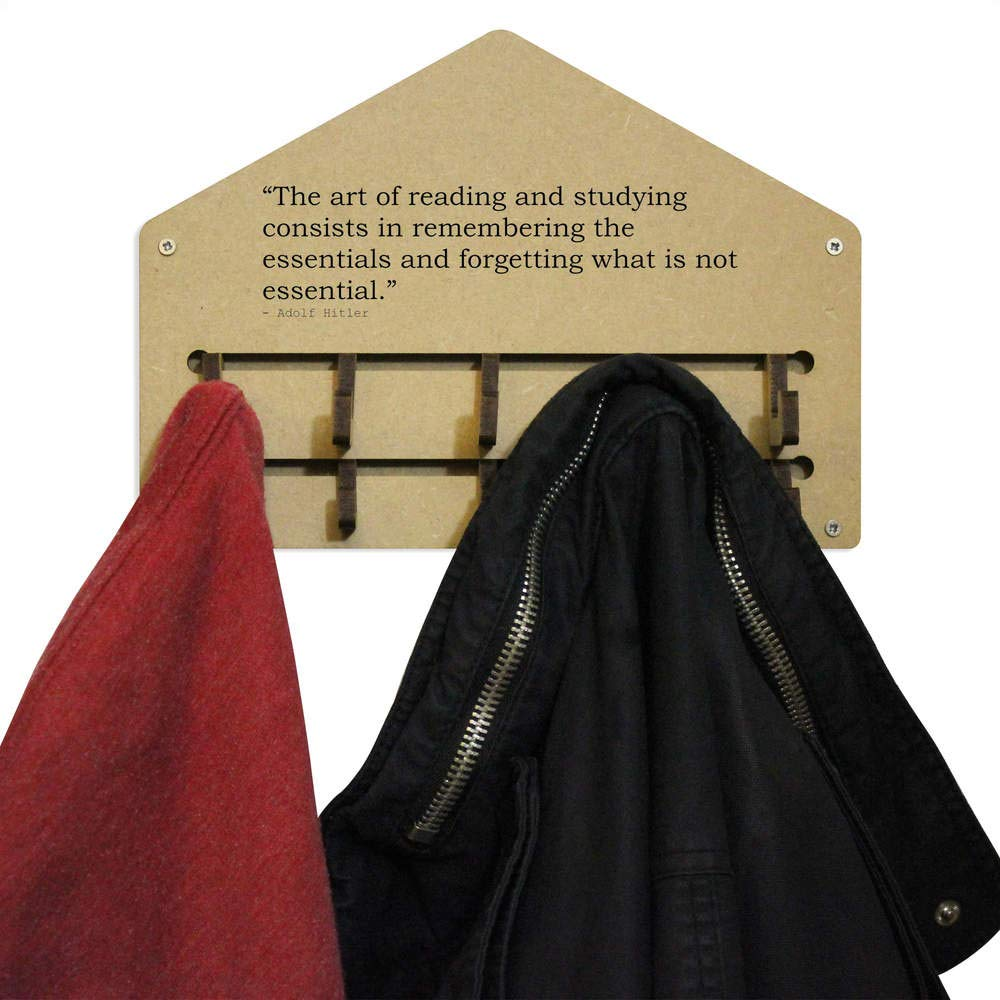 WH00034128 Stamp Press The art of reading and studying consists in remembering the essentials and forgetting what is not essential Rack Quote by Adolf Hitler Wall Mounted Coat Hooks
