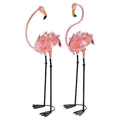 Garden Decor Statues, Metal Pink Flamingo Yard Decorations Statues (1 Pair) : Garden & Outdoor