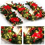 Purewing 9 Feet Christmas Decorations Christmas Garland with Lights Artificial Wreath with Red Flowers Berries and Pine Cones Xmas Decor for Stairs Wall Door (Red)