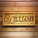 ADVPRO wpa0001 Personalized Family Name Sign Personalized Wedding Gifts Wall Art Rustic Home Decor Custom Carved Couples 5 Year Wooden Signs – Large 26.75″ x 10.75″ For Sale