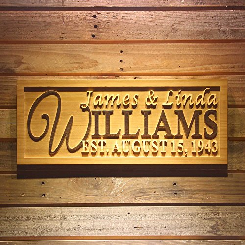 ADVPRO wpa0001 Personalized Family Name Sign Personalized Wedding Gifts Wall Art Rustic Home Decor Custom Carved Couples 5 Year Wooden Signs - Large 26.75