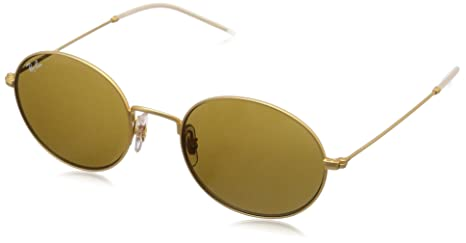 62cfdf16c Amazon.com: Ray-Ban RB3594 Beat Oval Sunglasses, Black on Rubber Gold/Grey Gradient  Mirror, 53 mm: Clothing