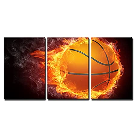 wall26 – 3 Piece Canvas Wall Art – Basketball Ball on Fire. 2D Graphics. Computer Design. – Modern Home Decor Stretched and Framed Ready to Hang – 16 x24 x3 Panels