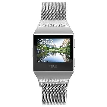 Correa para reloj inteligente Fitbit Ionic, de la marca Pugo Top, de acero inoxidable
