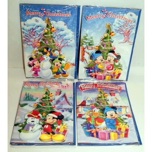 disney mickey mouse 3d christmas cards set of 4 designs one of each