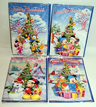 Disney Christmas Cards.Disney Mickey Mouse 3d Christmas Cards Set Of 4 Designs One Of Each