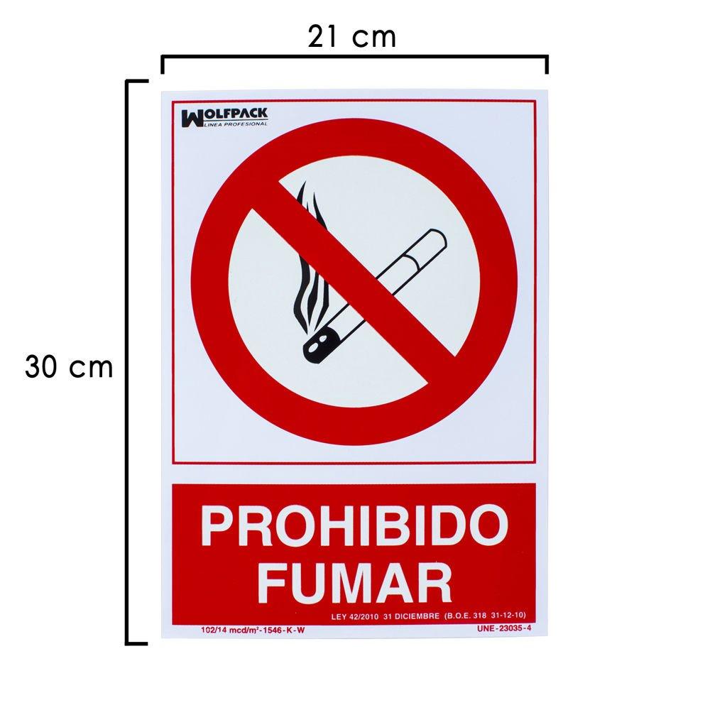 WOLFPACK 15051275 - Cartel Prohibido Fumar 30x21 cm