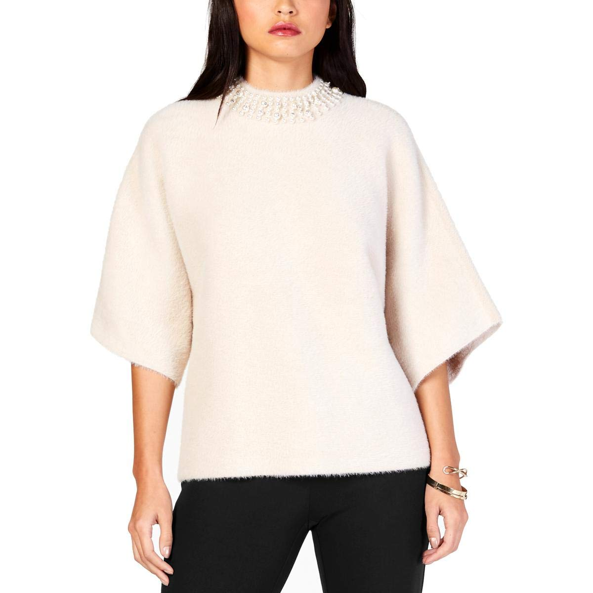 Alfani Womens Faux Fur Embellished Mock Turtleneck Sweater