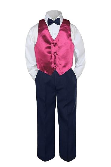 4pc Boys Suit Set Navy Blue Vest Bow Tie Baby Toddler Kids Pants S-7
