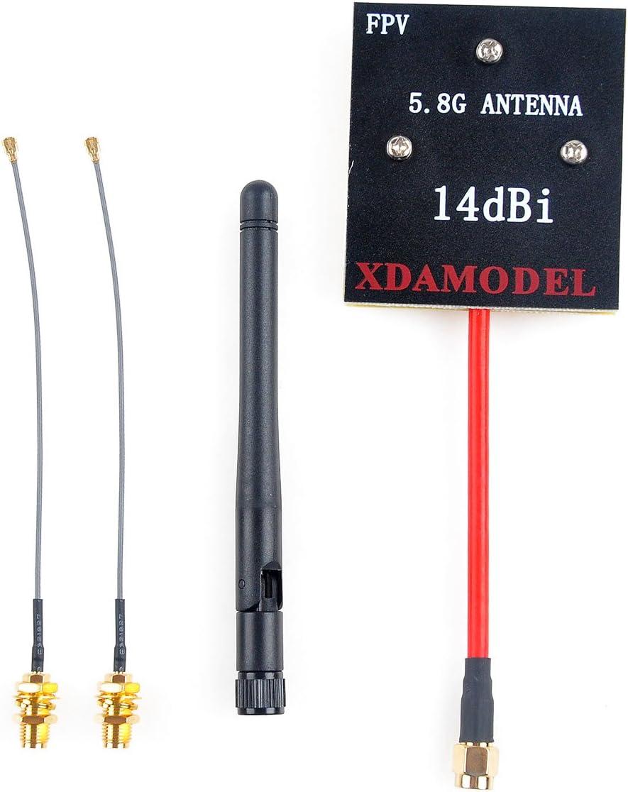 Crazepony Enhanced FPV Antenna Kit 5.8Ghz 14dBi Panel SMA Antenna 2.4GHz 3dBi SMA Antenna SMA to IPEX Cable for Hubsan H501S H107D H107D+