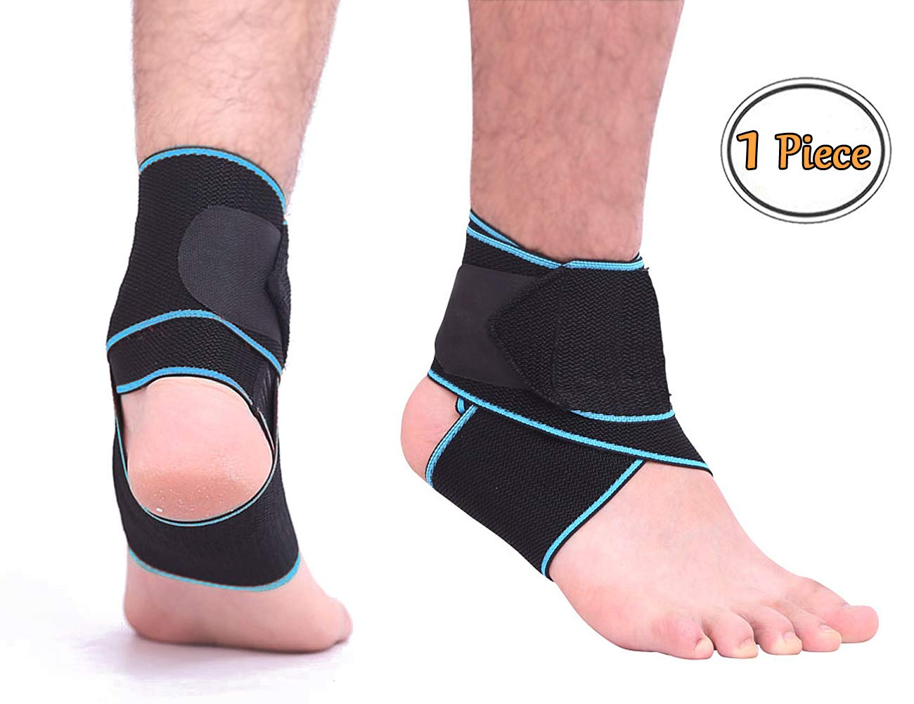 CFR Ankle Support Brace Compression Wrap Adjustable Breathable Ankle Strap Bandage for Sport Protect, Sprain, Plantar Fasciitis One Pair,Blue UPS Post