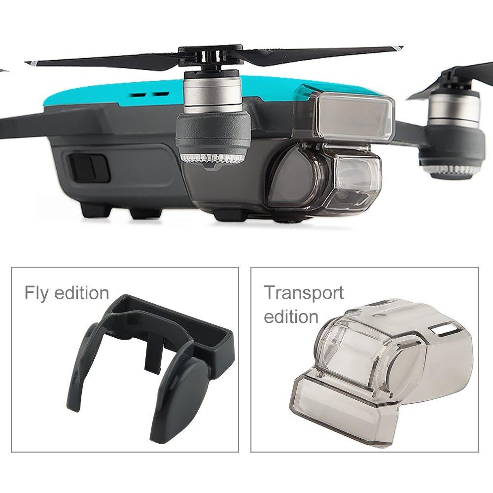 Kuuqa Kits de accesoriospara Dji Spark Joystick Protector Lens Hood incluidos 2 en 1 Helix Guard con tren de aterrizaje plegable Dji Spark no incluido Gimbal Camera Guard Finger Card
