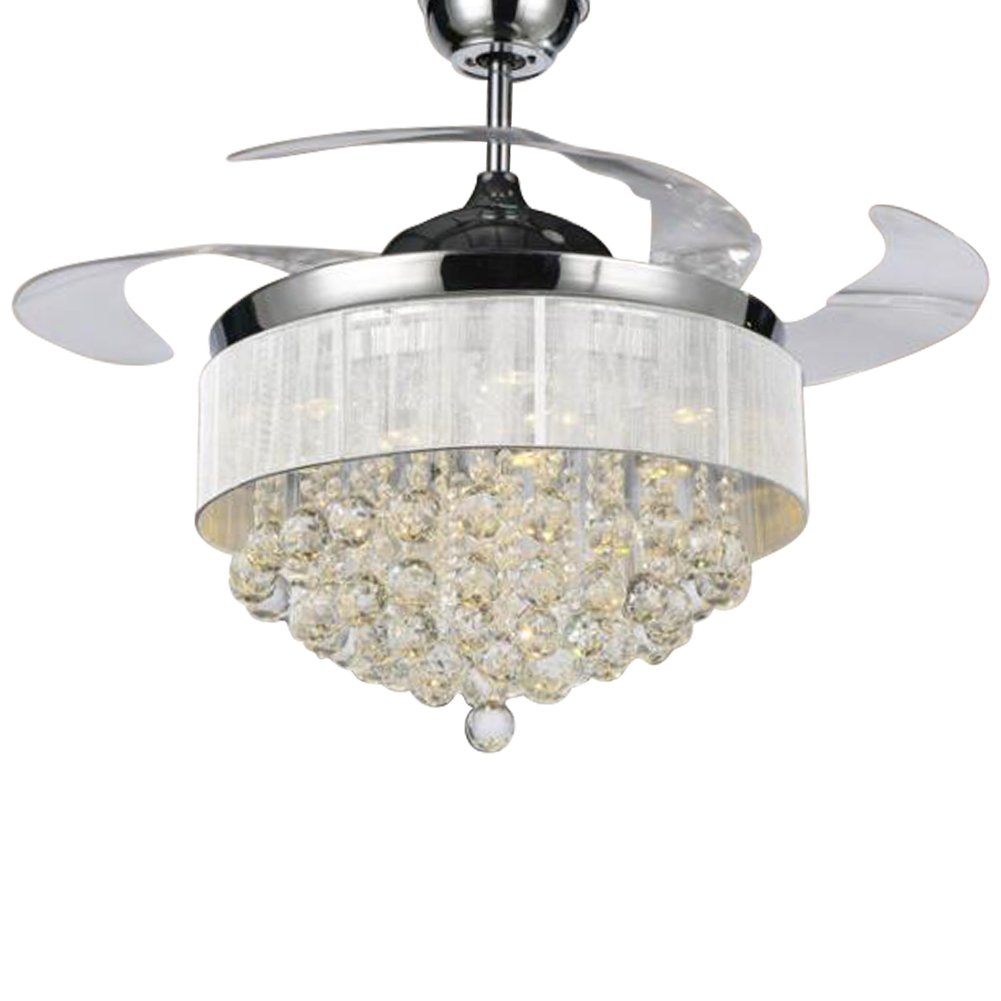 HAIXIANG Ceiling Fans with Lights 42'' Modern LED Ceiling Fan Blades Crystal Chandelier Fan with Remote Control, Dimmable, Chrome Finished