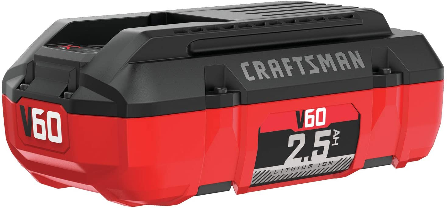 CRAFTSMAN V60 Battery, 2.5 Ah Lithium Ion (CMCB6025) , Red