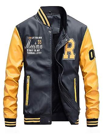 ROBO Chaquetas Hombre de Cuero Manga Raglán Eslogan Abrigo Casual PU Jacket Impermeable de Béisbol Primavera Otoño Invierno