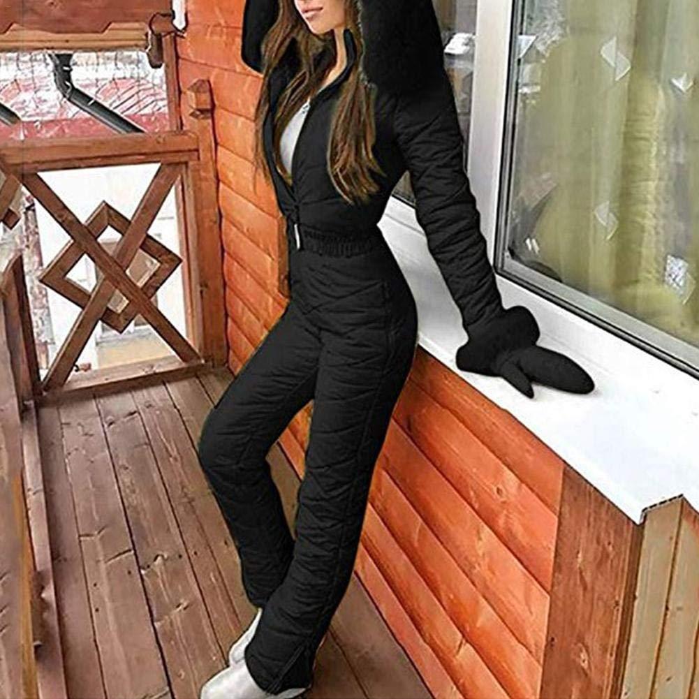 Tute da Sci monoblocco da Donna Giacca Felpa con Cappuccio Calda Tinta Unita Casual Tute da Sci Invernali Calde da Donna Tute da Sci Tuta Sportiva da Esterno Cappotto da Sci con Cerniera
