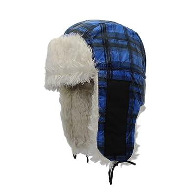 ZEHAT Lei Feng Hat Unisex Thicken Plush Cycling Driving Outdoor Cycling Ski Men Plaid Headwrap Hat Earmuff Winter Warm Hat