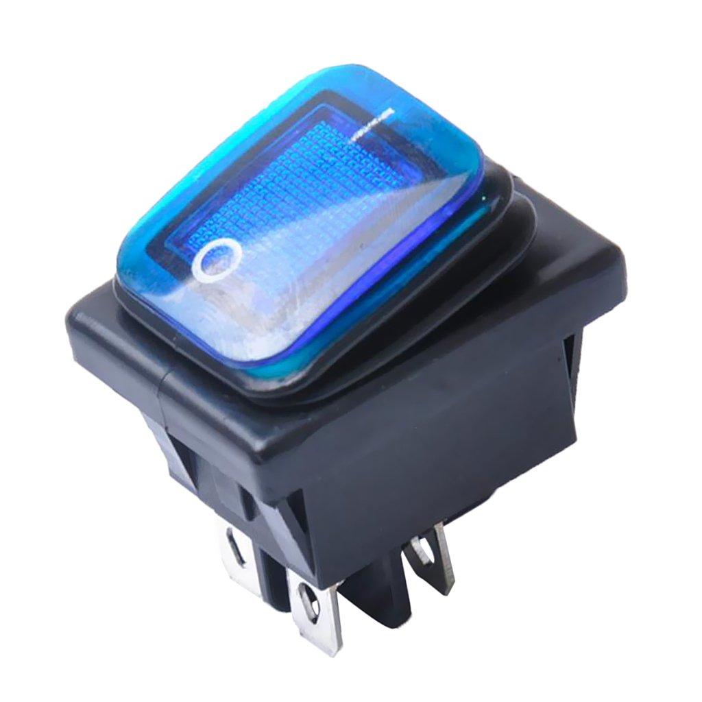 Non-brand 4 Pin on-Off-Auto-Boots-beleuchteter Rocker-Kippschalter Wasserdicht - Gelb