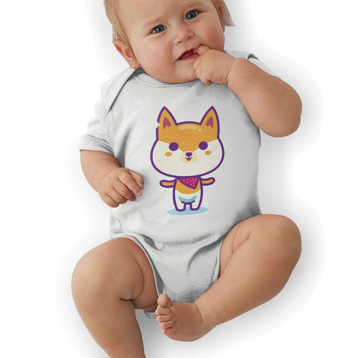 BONLOR Cute Shiba Inu Baby Boys Girls Jumpsuit Overall Romper Bodysuit Summer Clothes White