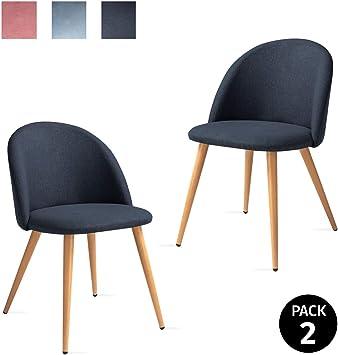 Mc Haus SOFI - Pack 2 Sillas Comedor Tapizadas de tela color Azul ...