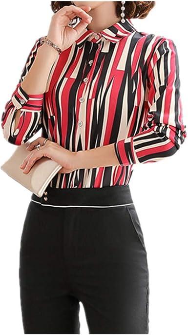 NOBRAND Camisa de rayas para mujer, diseño Sense Niche Top Temperament suelto Korupc camisa de manga larga verde: Amazon.es: Ropa y accesorios