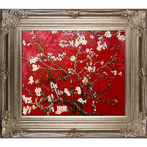 Painted Original Artwork - La Pastiche VG2129-FR-801S20X24 Almond Tree In Blossom, Ruby Red Framed Hand Painted Original Artwork with Renaissance Champagne Frame