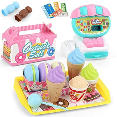 Etuoji 22pcs/Set Kids Durable Cash Register Toy Simulation Toy Set Role Play Pretend Toy Set Washing Machines: Clothing