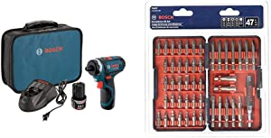 Bosch PS21-2A 12V Max 2-Speed Pocket Driver Kit with 2 Batteries, Charger and Case & T4047 Multi-Size Screwdriver Bit Set (47 Piece)