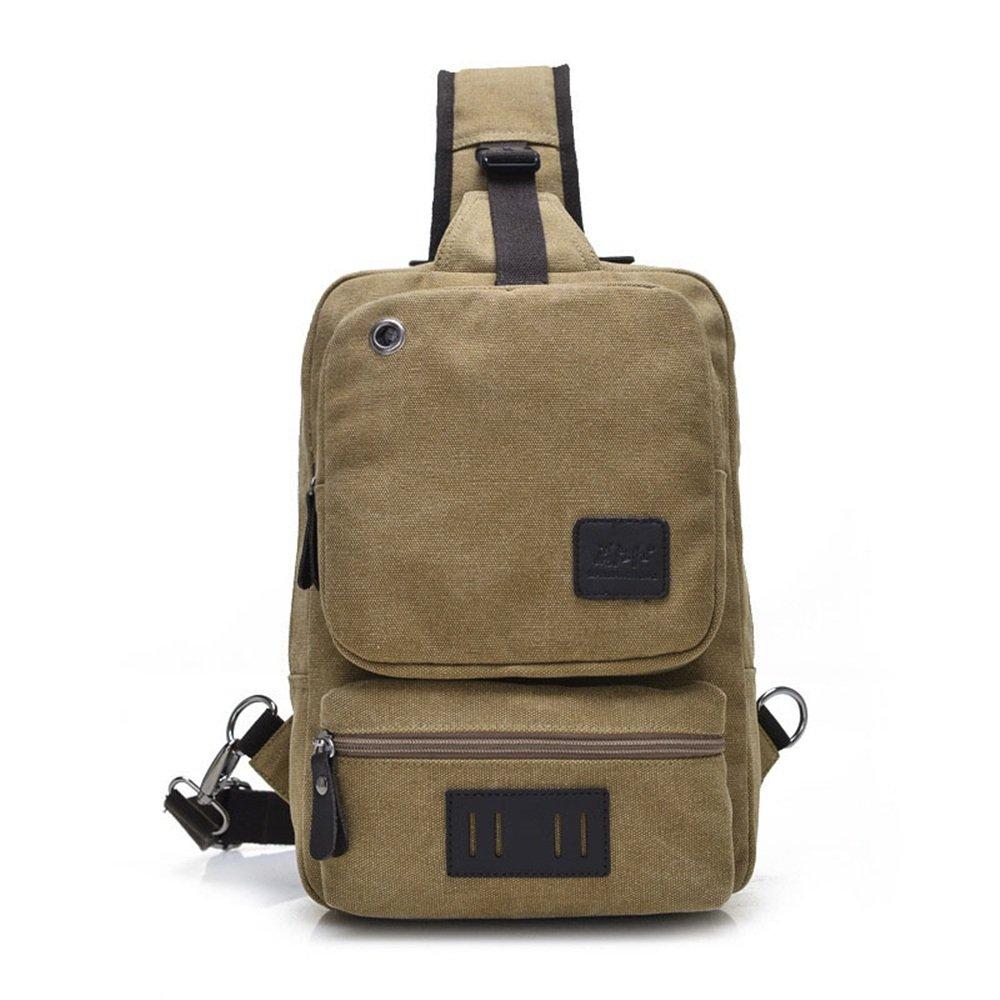Einfache Retro Outdoor Brusttasche Brusttasche Brusttasche Reißverschluss wasserdichte Leinwand Umhängetasche Schultertasche Farbe  Khaki B07D6GN2YW Umhngetaschen Feinbearbeitung 83c90a