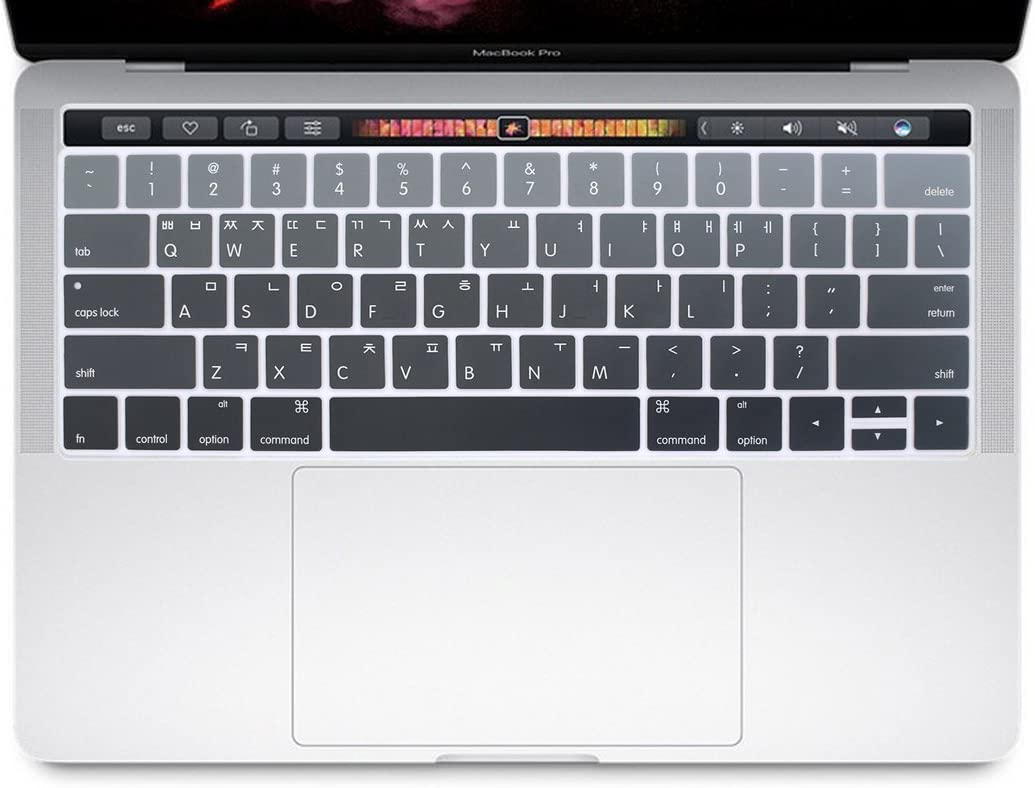 HRH Korean Language Silicone Keyboard Cover Compatible for MacBook Pro with Touch Bar 13 Inch and 15 Inch (A2159/A1989/A1706,A1990/A1707) 2019 2018 2016 2017 Release USA Version,Ombre Gray