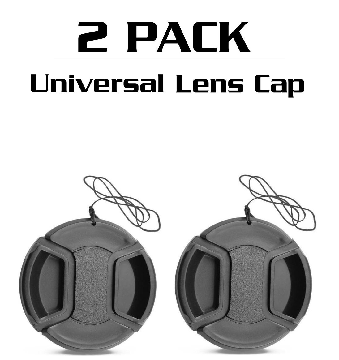 55mm [ 2 Pack ] - Center Pinch Lens Cap Cover With Cable for NIKON SLR Cameras (82mm)